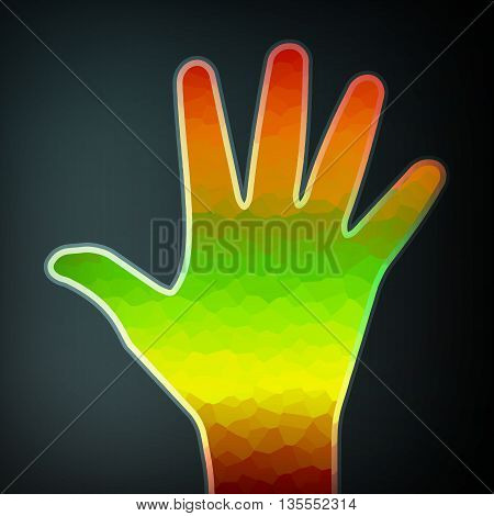 Abstract colorful hand, futuristic illustration, art concept