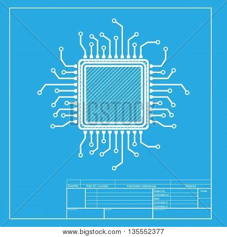 CPU Microprocessor illustration. White section of icon on blueprint template.