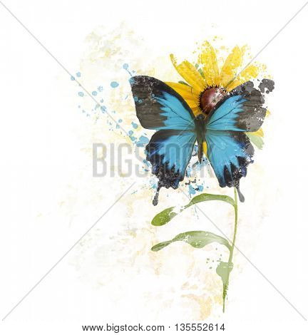 digital painting of  Blue Butterfly on a Flower