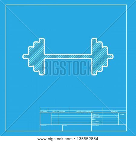Dumbbell weights sign. White section of icon on blueprint template.