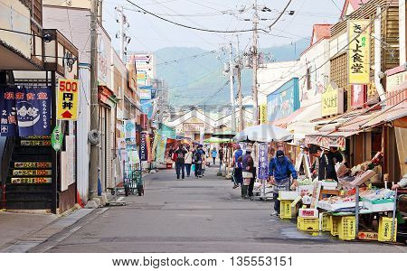 Hakodate Hokkaido Japan - May 2 2016 Life and commercial activities around Hakodate morning market Hakodate Hokkaido Japan