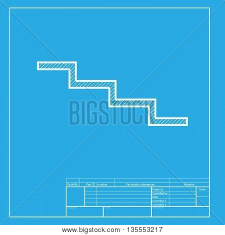 Stair down sign. White section of icon on blueprint template.