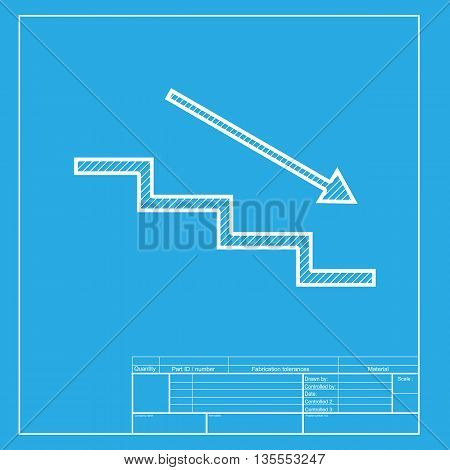Stair down with arrow. White section of icon on blueprint template.
