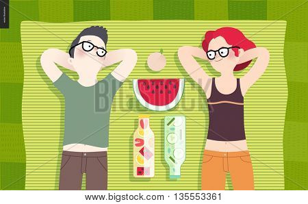 Young couple on picnic, top view - flat cartoon vector illustration of woman and man laying down on striped green plaid on green grass, bottles with fruit water, cucumber water, watermelon and peach