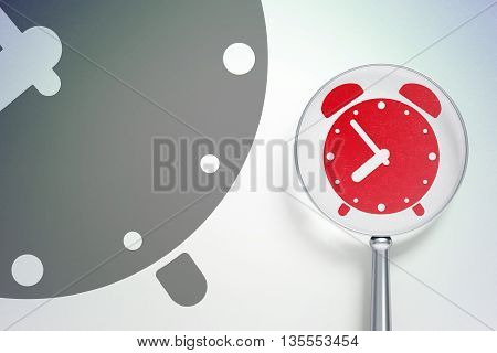 Time concept: magnifying optical glass with Alarm Clock icon on digital background, empty copyspace for card, text, advertising, 3D rendering