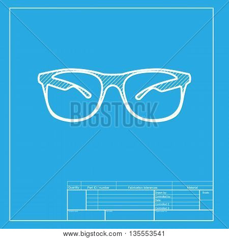 Sunglasses sign illustration. White section of icon on blueprint template.