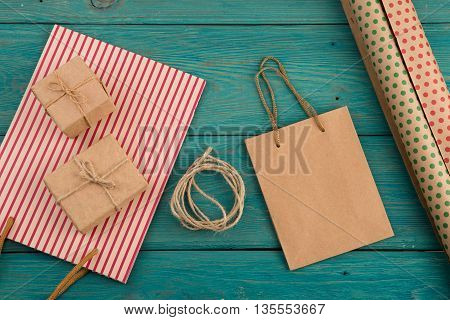 Celebratory Concept - Set With Handmade Striped Shopping Bag, Gift Bags, Packing Paper With Polka Do