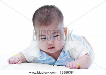 Cute Crawling Baby. Adorable Baby Girl, On White Background.