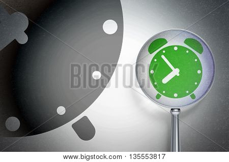 Timeline concept: magnifying optical glass with Alarm Clock icon on digital background, empty copyspace for card, text, advertising, 3D rendering