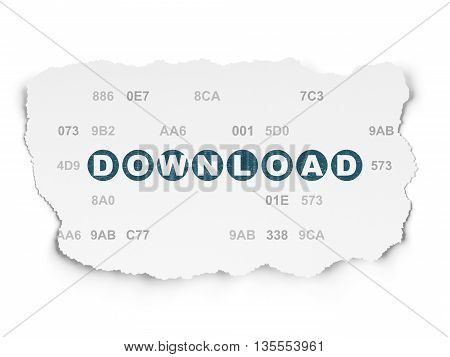 Web development concept: Painted blue text Download on Torn Paper background with  Hexadecimal Code