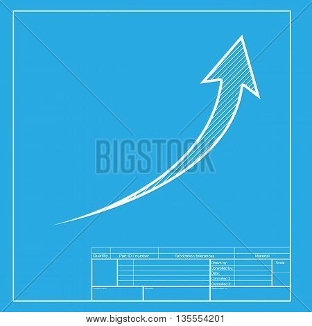 Growing arrow sign. White section of icon on blueprint template.