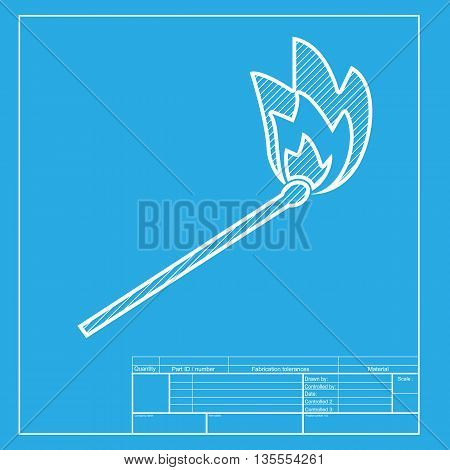 Match sign illustration. White section of icon on blueprint template.