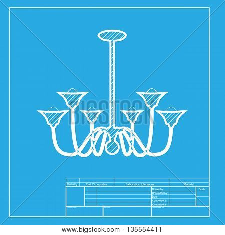 Chandelier simple sign. White section of icon on blueprint template.