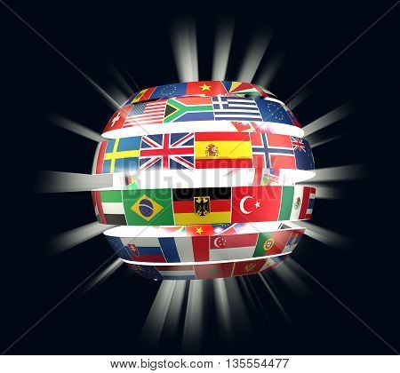 3D illustration of National flags twisted as spiral globe with rays on dark