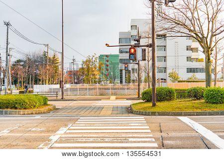 Close up of cross road in the morning kanazawa city japan.
