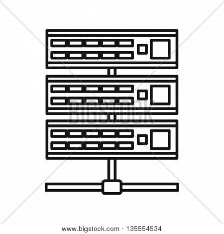 Servers icon in outline style isolated on white background