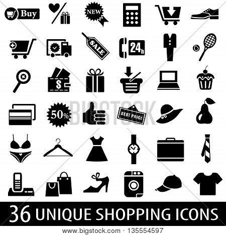 Set of 36 shopping icons. Vector illustration
