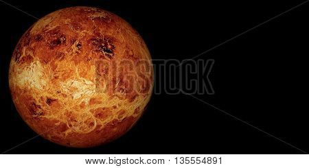 3D render the planet Venus on a black background, high resolution.