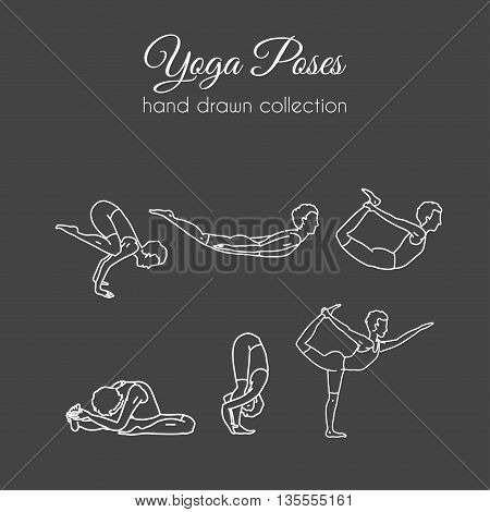 Vector yoga poses collection. Asana illustrations. International yoga day.