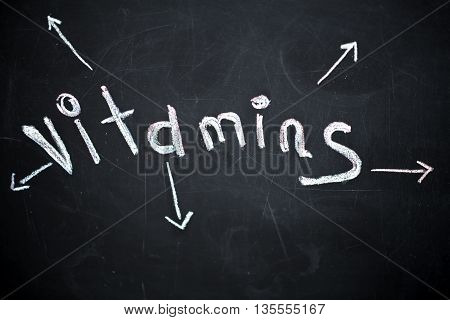 the word vitamin written on black chalkboard