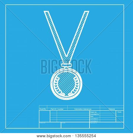 Medal simple sign. White section of icon on blueprint template.