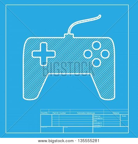 Joystick simple sign. White section of icon on blueprint template.