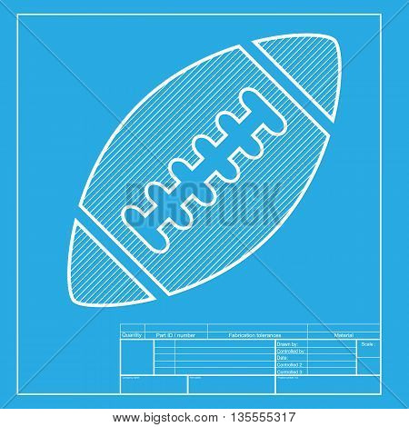 American simple football ball. White section of icon on blueprint template.