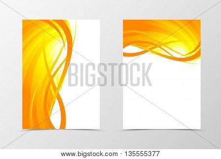 Flyer template wave design. Abstract flyer template in orange color with gold lines. Spectrum flyer design. Vector illustration