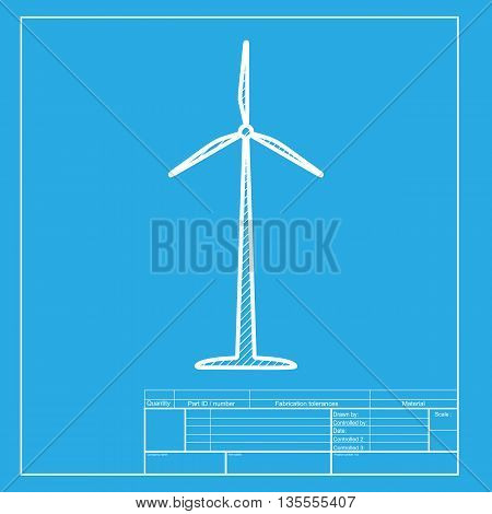 Wind turbine logo or sign. White section of icon on blueprint template.