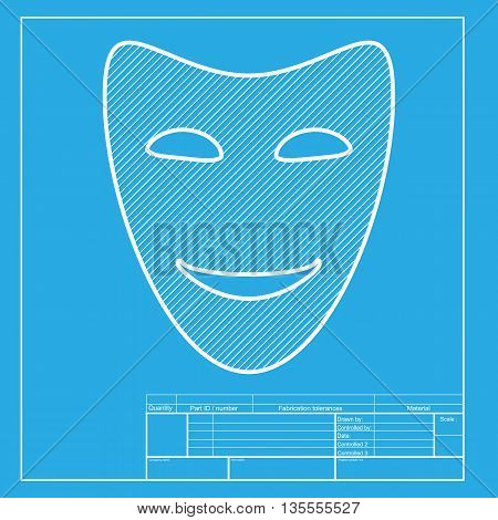 Comedy theatrical masks. White section of icon on blueprint template.