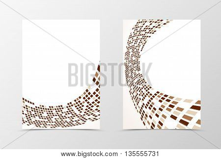 Flyer template wave design. Abstract flyer template with brown and gray rectangles. Geometric flyer design. Vector illustration