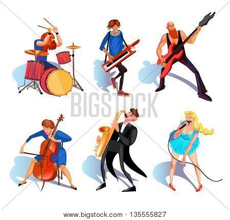 Musicians Icons Set. Musicians Vector Illustration. Music And People Cartoon Symbols.Musicians  Design Set.  Musicians Performance Isolated Set.