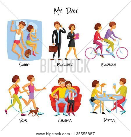 Lifestyle Icons Set. Lifestyle Vector Illustration. Daily Routine Cartoon Symbols.  Typical Day Design Set.  Daily Routine Isolated Set.