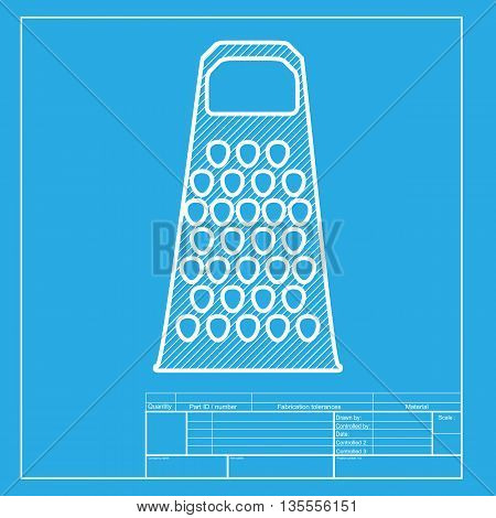 Cheese grater sign. White section of icon on blueprint template.