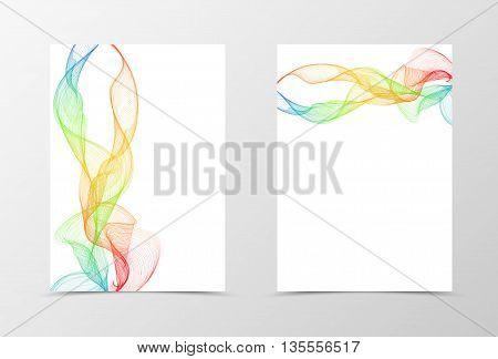 Flyer template wave design. Abstract flyer template in orange blue red green colors. Spectrum transparent flyer design. Vector illustration
