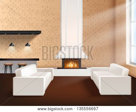 Realistic loft interior in minimalistic style concept with two sofas cupboards and fireplace vector illustration