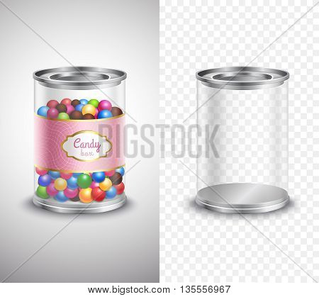 Vertical product package design of candy box with sweets and label and empty box banners on grey and plaid background realistic isolated vector illustration