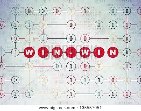 Finance concept: Painted red text Win-Win on Digital Data Paper background with Binary Code