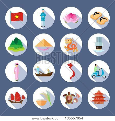Vietnamese national symbols culture cuisine traditions flat round slant shadow icons collection abstract isolated vector illustration