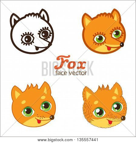 Cartoon Animals Head Icon Vector. Cartoon Fox Faces Vector Set. Different Style Illustrations. Animals Head Mask.