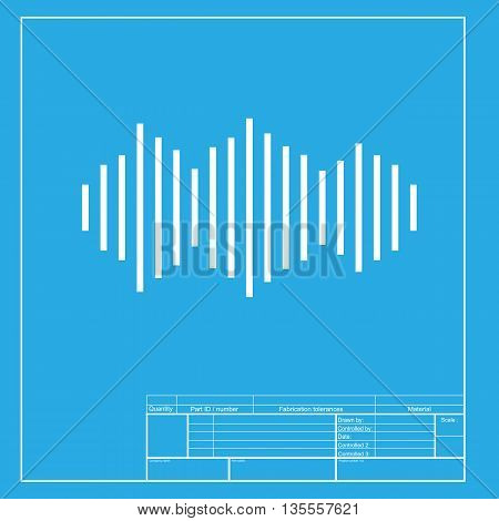 Sound waves icon. White section of icon on blueprint template.