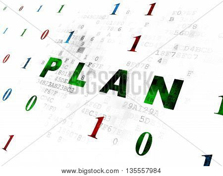 Business concept: Pixelated green text Plan on Digital wall background with Binary Code