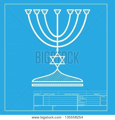 Jewish Menorah candlestick in black silhouette. White section of icon on blueprint template.