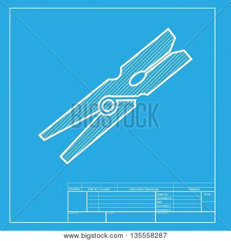 Clothes peg sign. White section of icon on blueprint template.