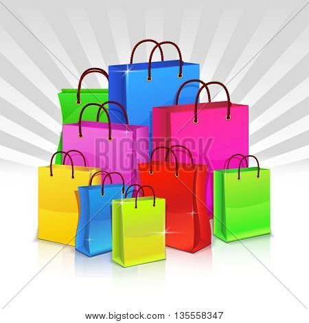 Color shopping bags. Discount concept. Set of paper bag for shopping. Heap of packs for shopping. Vector illustration