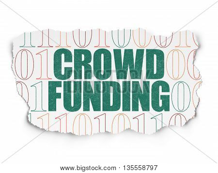 Finance concept: Painted green text Crowd Funding on Torn Paper background with  Binary Code