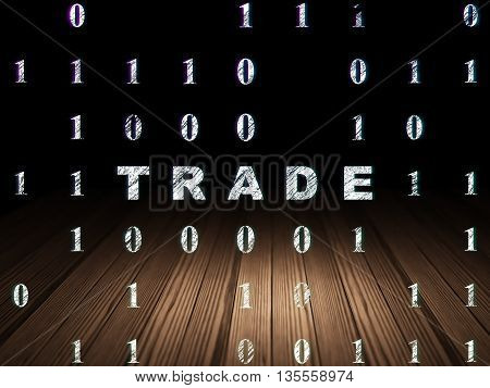 Finance concept: Glowing text Trade in grunge dark room with Wooden Floor, black background with Binary Code
