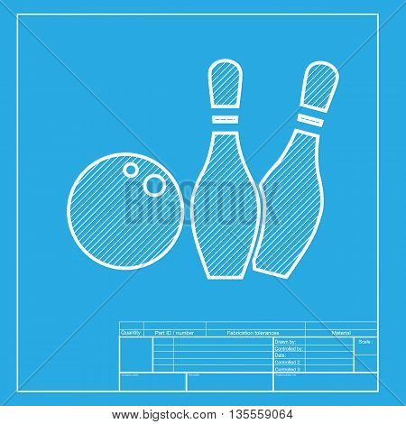 Bowling sign illustration. White section of icon on blueprint template.