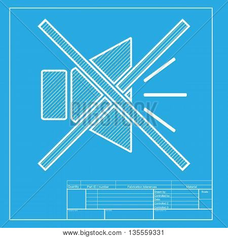 Sound sign illustration with mute mark. White section of icon on blueprint template.