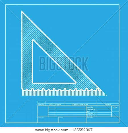 Ruler sign illustration. White section of icon on blueprint template.